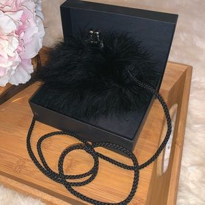 La Regale Black Feather Small Clutch